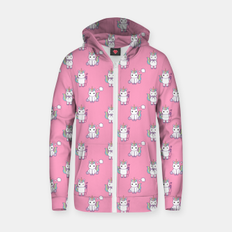 Thumbnail image of Cute Unicorns pattern  Zip up hoodie, Live Heroes