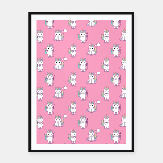 Thumbnail image of Cute Unicorns pattern  Framed poster, Live Heroes