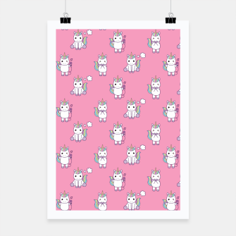 Thumbnail image of Cute Unicorns pattern  Poster, Live Heroes