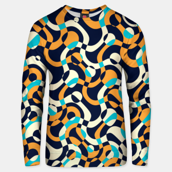 Thumbnail image of Bubbles and curves, abstract geometric design in orange and blue Unisex sweater, Live Heroes