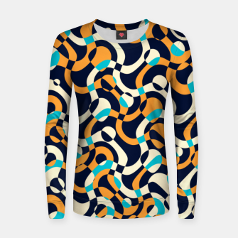 Thumbnail image of Bubbles and curves, abstract geometric design in orange and blue Women sweater, Live Heroes