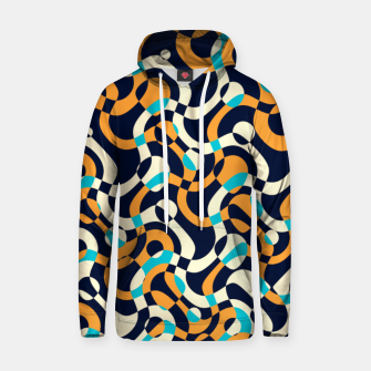 Thumbnail image of Bubbles and curves, abstract geometric design in orange and blue Hoodie, Live Heroes