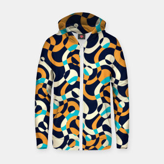 Thumbnail image of Bubbles and curves, abstract geometric design in orange and blue Zip up hoodie, Live Heroes