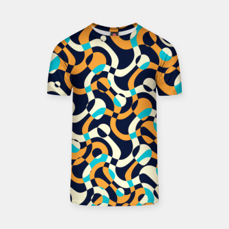 Thumbnail image of Bubbles and curves, abstract geometric design in orange and blue T-shirt, Live Heroes