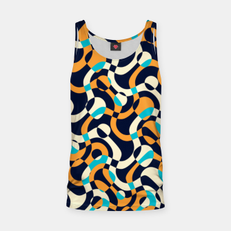 Thumbnail image of Bubbles and curves, abstract geometric design in orange and blue Tank Top, Live Heroes