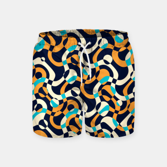 Thumbnail image of Bubbles and curves, abstract geometric design in orange and blue Swim Shorts, Live Heroes