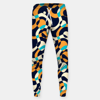 Thumbnail image of Bubbles and curves, abstract geometric design in orange and blue Sweatpants, Live Heroes