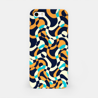 Imagen en miniatura de Bubbles and curves, abstract geometric design in orange and blue iPhone Case, Live Heroes