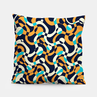 Thumbnail image of Bubbles and curves, abstract geometric design in orange and blue Pillow, Live Heroes