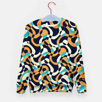 Thumbnail image of Bubbles and curves, abstract geometric design in orange and blue Kid's sweater, Live Heroes
