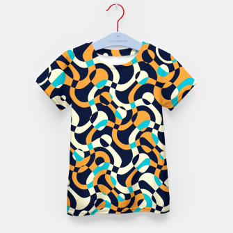Thumbnail image of Bubbles and curves, abstract geometric design in orange and blue Kid's t-shirt, Live Heroes