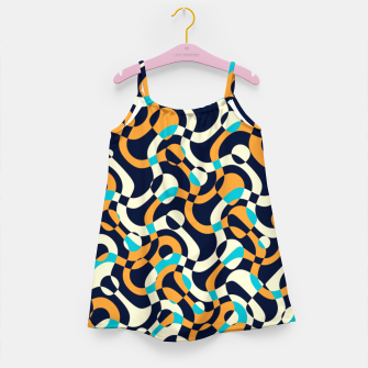 Thumbnail image of Bubbles and curves, abstract geometric design in orange and blue Girl's dress, Live Heroes