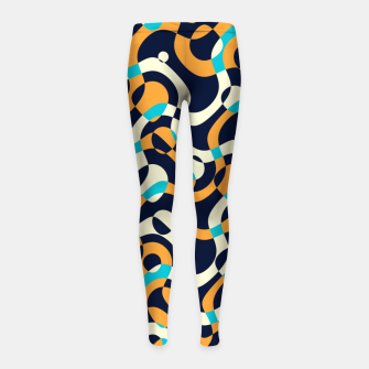 Thumbnail image of Bubbles and curves, abstract geometric design in orange and blue Girl's leggings, Live Heroes