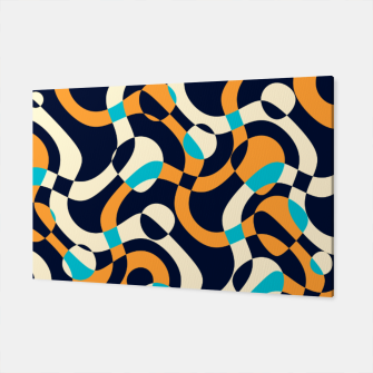Imagen en miniatura de Bubbles and curves, abstract geometric design in orange and blue Canvas, Live Heroes
