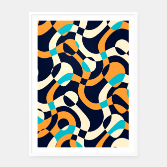 Thumbnail image of Bubbles and curves, abstract geometric design in orange and blue Framed poster, Live Heroes