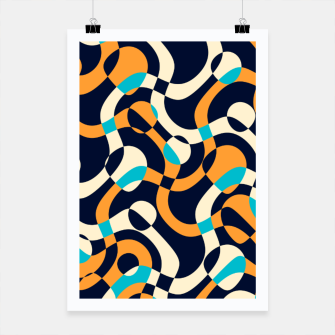 Thumbnail image of Bubbles and curves, abstract geometric design in orange and blue Poster, Live Heroes