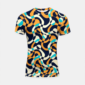 Thumbnail image of Bubbles and curves, abstract geometric design in orange and blue Shortsleeve rashguard, Live Heroes