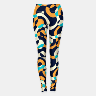 Thumbnail image of Bubbles and curves, abstract geometric design in orange and blue Leggings, Live Heroes