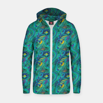 Thumbnail image of Peacock Abstract Zip up hoodie, Live Heroes