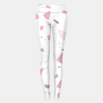 Blush Gray White Terrazzo #1 #decor #art Leggings obraz miniatury