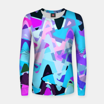 Miniaturka Electric waves, techno abstraction in rich colors, music waves in violet Women sweater, Live Heroes
