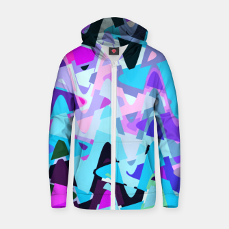 Miniaturka Electric waves, techno abstraction in rich colors, music waves in violet Zip up hoodie, Live Heroes