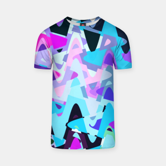 Thumbnail image of Electric waves, techno abstraction in rich colors, music waves in violet T-shirt, Live Heroes