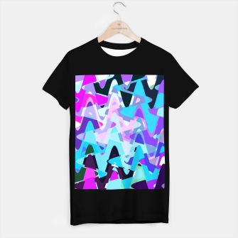 Miniaturka Electric waves, techno abstraction in rich colors, music waves in violet T-shirt regular, Live Heroes