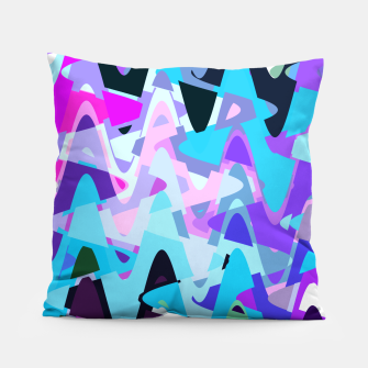 Miniature de image de Electric waves, techno abstraction in rich colors, music waves in violet Pillow, Live Heroes