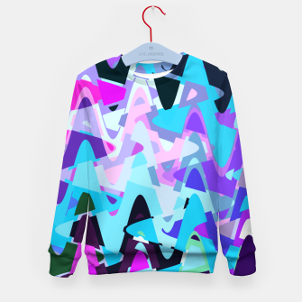 Miniature de image de Electric waves, techno abstraction in rich colors, music waves in violet Kid's sweater, Live Heroes