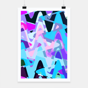 Miniaturka Electric waves, techno abstraction in rich colors, music waves in violet Poster, Live Heroes