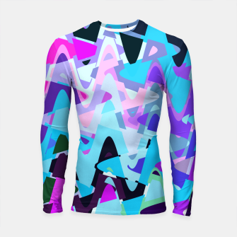 Miniature de image de Electric waves, techno abstraction in rich colors, music waves in violet Longsleeve rashguard , Live Heroes
