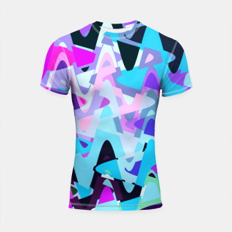Miniature de image de Electric waves, techno abstraction in rich colors, music waves in violet Shortsleeve rashguard, Live Heroes