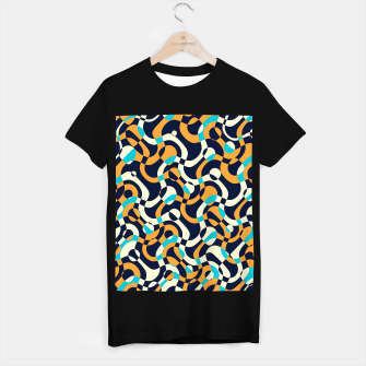 Thumbnail image of Bubbles and curves, abstract geometric design in orange and blue T-shirt regular, Live Heroes
