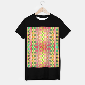 Miniatur Abstract retro waves print in pastel colors T-shirt regular, Live Heroes