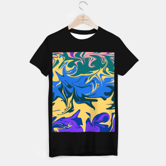 Thumbnail image of Hurricane II, abstract color storm in blue, purple and yellow T-shirt regular, Live Heroes