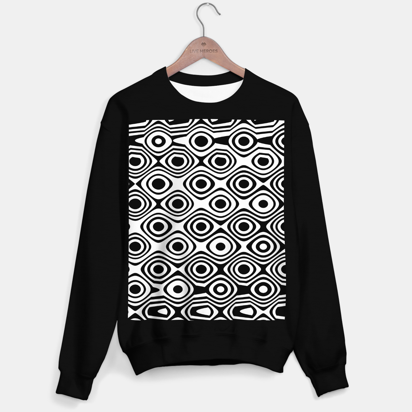 Image de Asymmetry collection: abstract black and white circles Sweater regular - Live Heroes