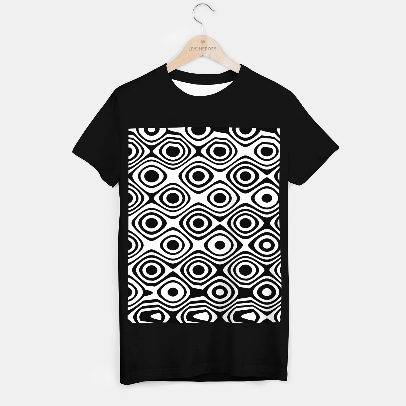 Image of Asymmetry collection: abstract black and white circles T-shirt regular - Live Heroes