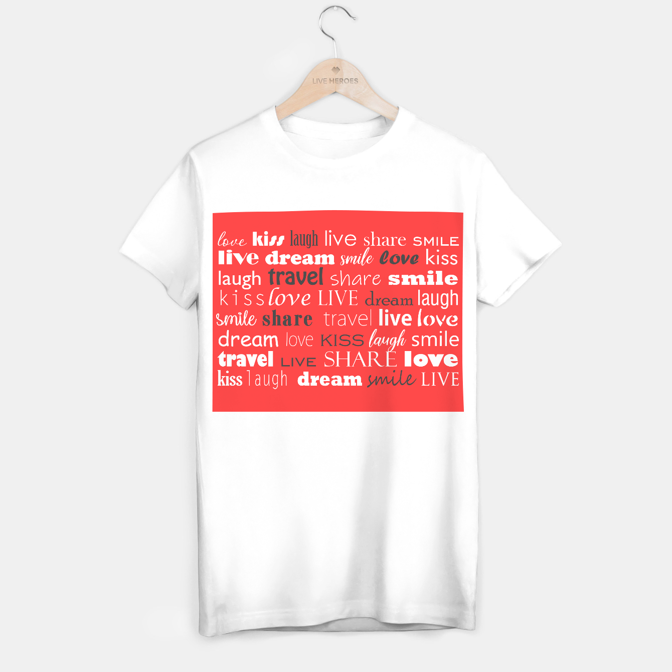Image de Live, love, laugh, dream, share, travel, kiss, smile T-shirt regular - Live Heroes