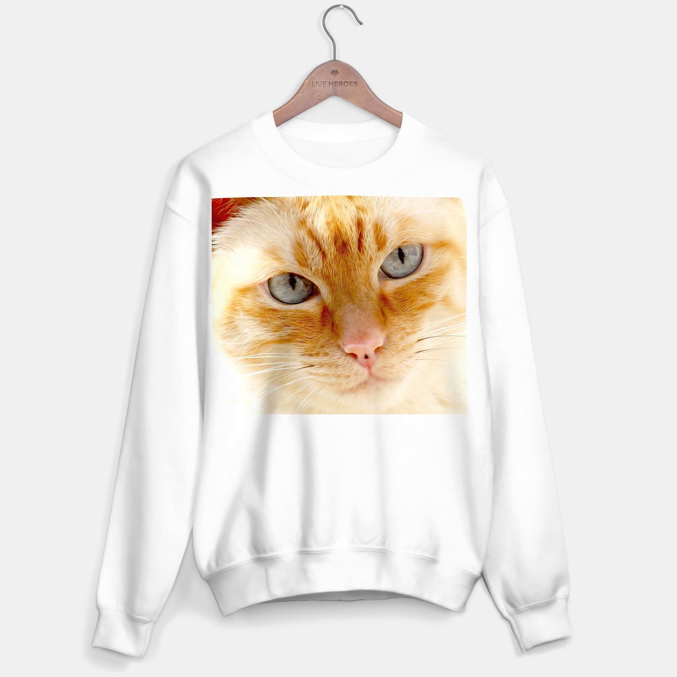Image de Cat with the blue eyes, cat face print  Sweater regular - Live Heroes