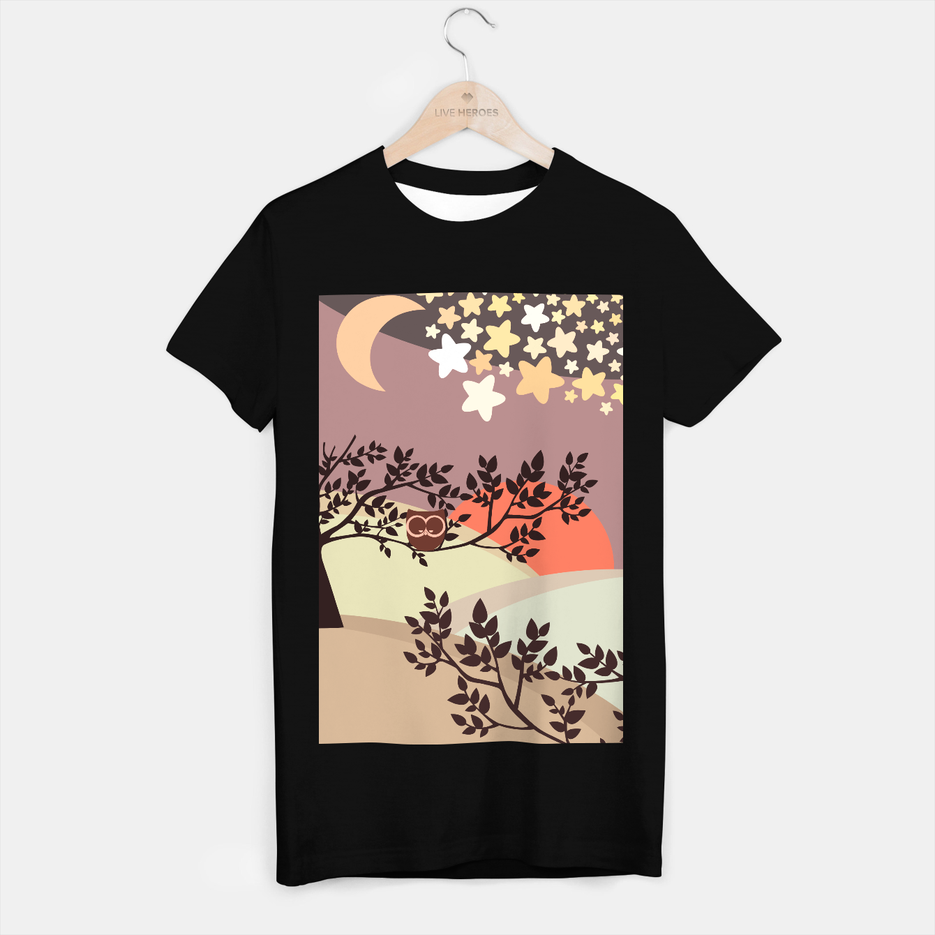 Image de Quiet and peaceful night, cute owl snooze on the tree T-shirt regular - Live Heroes