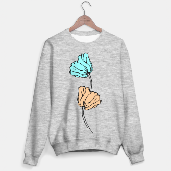 Miniature de image de Pink and blue sketched flowers, nature print, poppy Sweater regular, Live Heroes