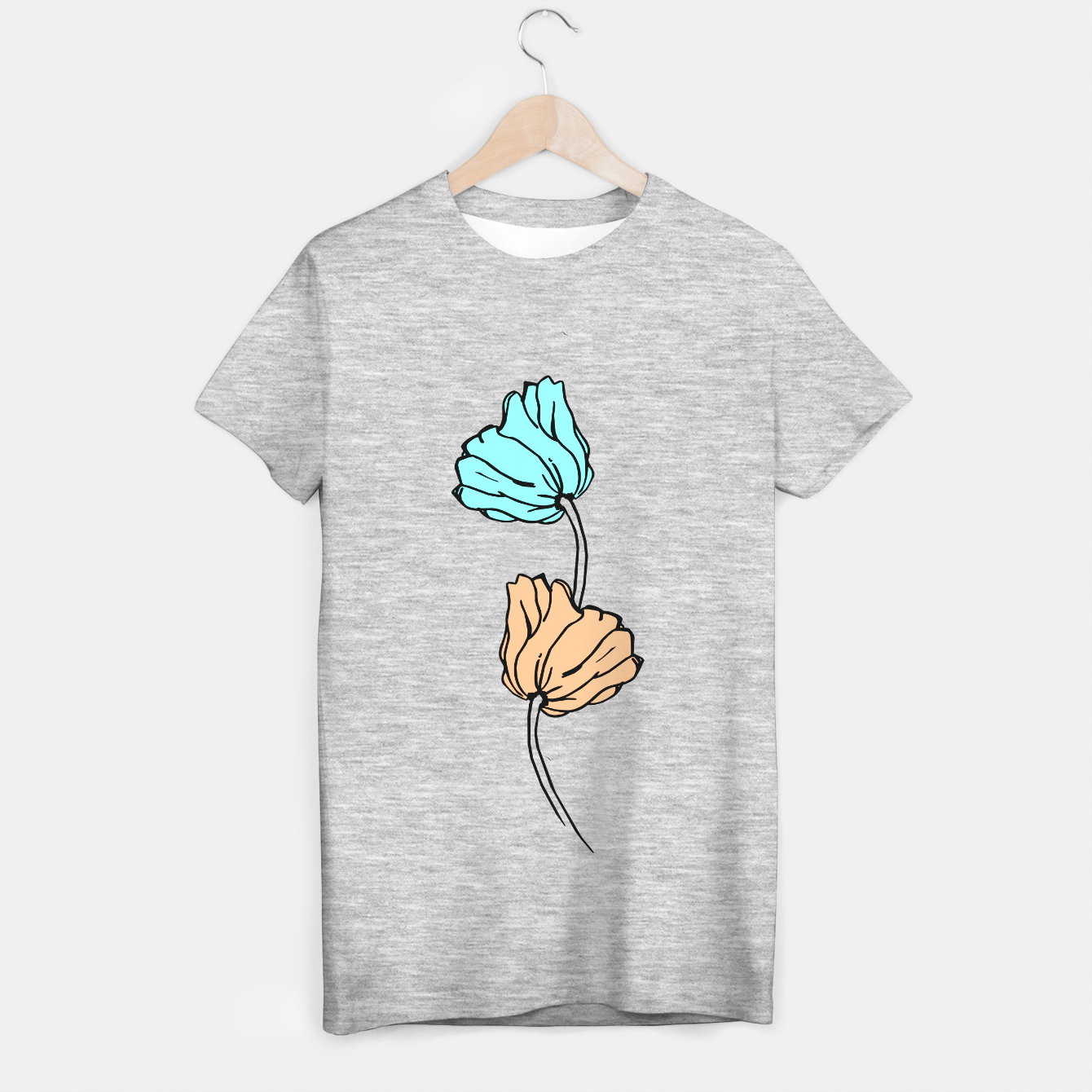 Image de Pink and blue sketched flowers, nature print, poppy T-shirt regular - Live Heroes