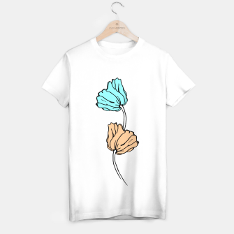 Miniaturka Pink and blue sketched flowers, nature print, poppy T-shirt regular, Live Heroes