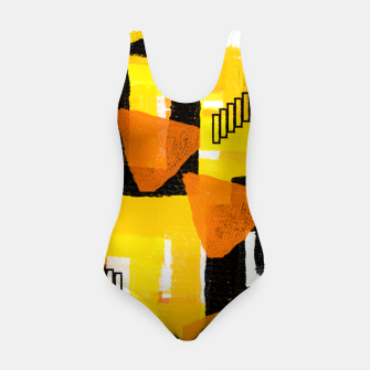 Thumbnail image of yellow orange white black abstract geometric digital painting Swimsuit, Live Heroes