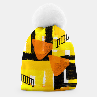 Thumbnail image of yellow orange white black abstract geometric digital painting Beanie, Live Heroes