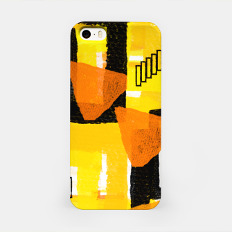Thumbnail image of yellow orange white black abstract geometric digital painting iPhone Case, Live Heroes