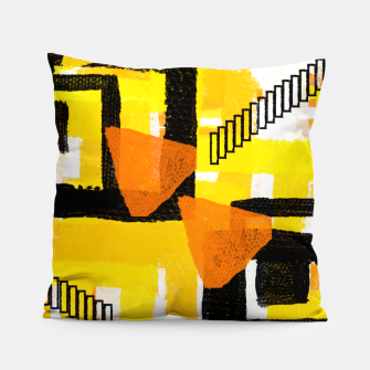 Thumbnail image of yellow orange white black abstract geometric digital painting Pillow, Live Heroes