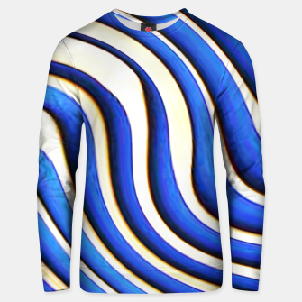 Thumbnail image of blue beige 3d abstract wavy striped pattern Unisex sweater, Live Heroes