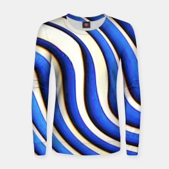 Thumbnail image of blue beige 3d abstract wavy striped pattern Women sweater, Live Heroes